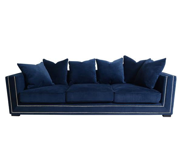 Cooper Velvet Sofa With Five Soft Pillows