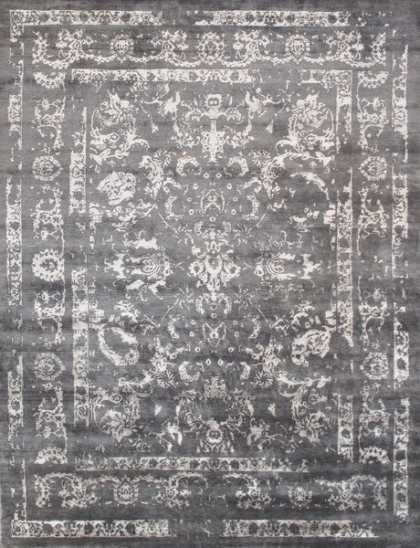Hand-Knotted Bamboo Silk Grey Area Rug