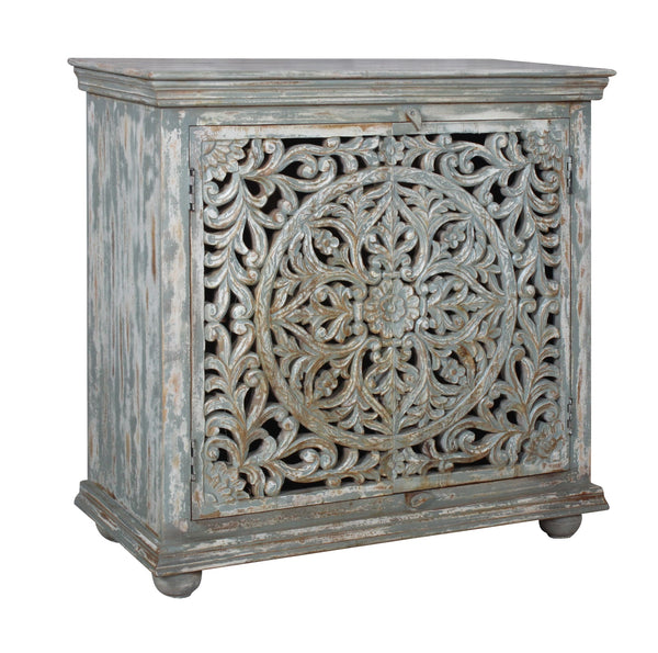 Carved 2 Door Cabinet