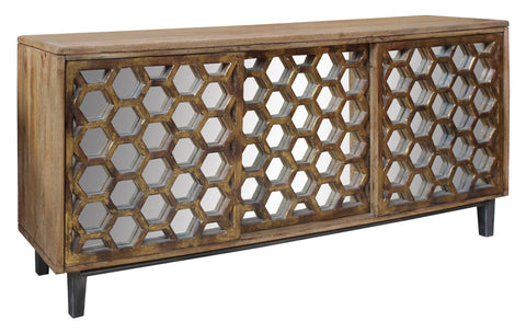 Cabinet With Honeycomb Mirror