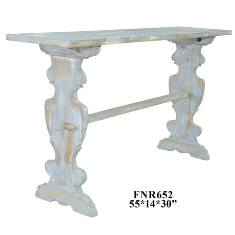 Console Table Heavily Distressed Grey Finish