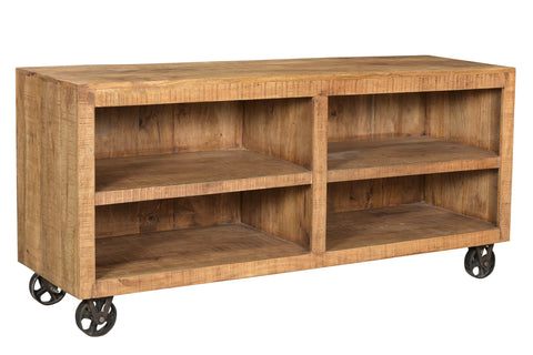 Open Media Console With Wheels