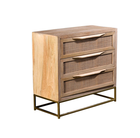 3 Drawer Natural Cane Chest
