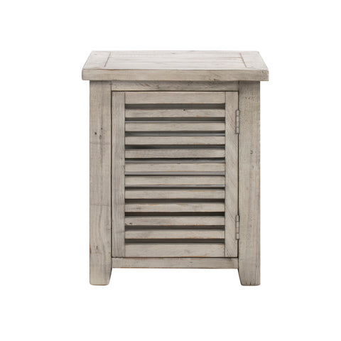 1 Door Slated Rectangle End Table