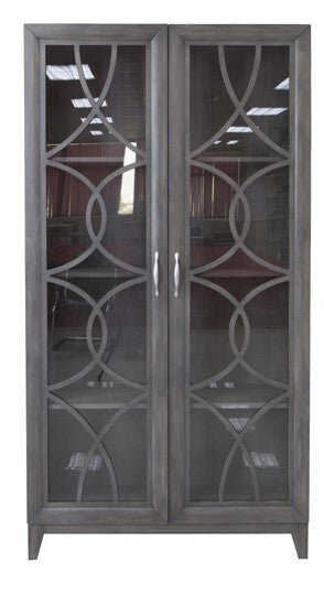 2 Glass Fretwork Tall Cabinet