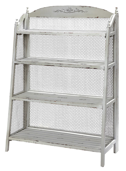 Grey And Chicken Wire Bookshelf