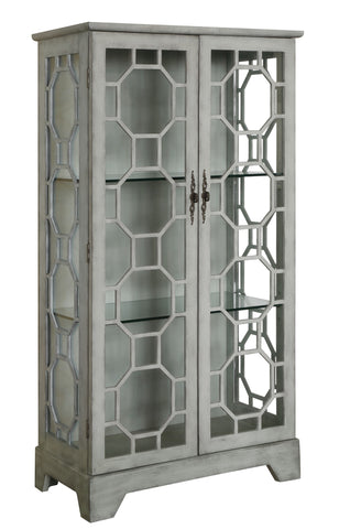 2 Door Painted Grey Glass Curio With Fretwork