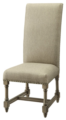 Baroque Linen Side Chair, Set of 2
