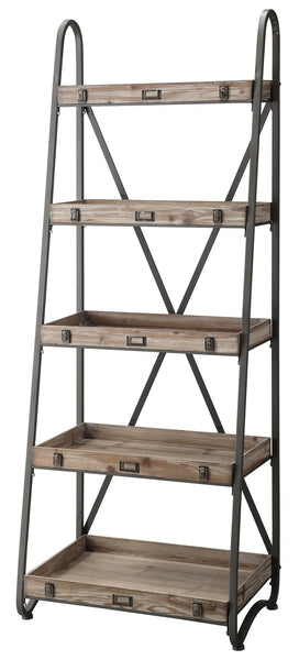 Metal And Wood Tiered Etagere