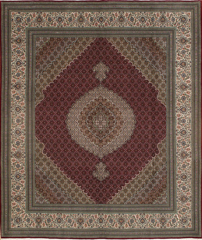 Hand-Knotted Tabriz Persian Wool & Silk Rug