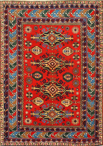Hand-Knotted Antique Russian Lamb's Wool  Rug