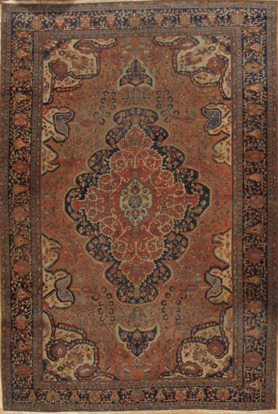 Hand-Knotted Antique Ferahan Area Rug