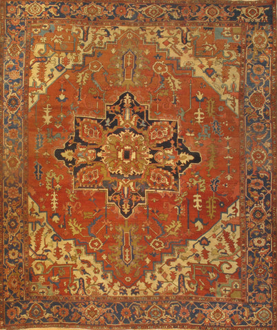 Hand-Knotted Antique Persian Serapi Area Rug