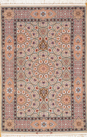 Hand-Knotted Persian Isfahan Pure Silk Rug