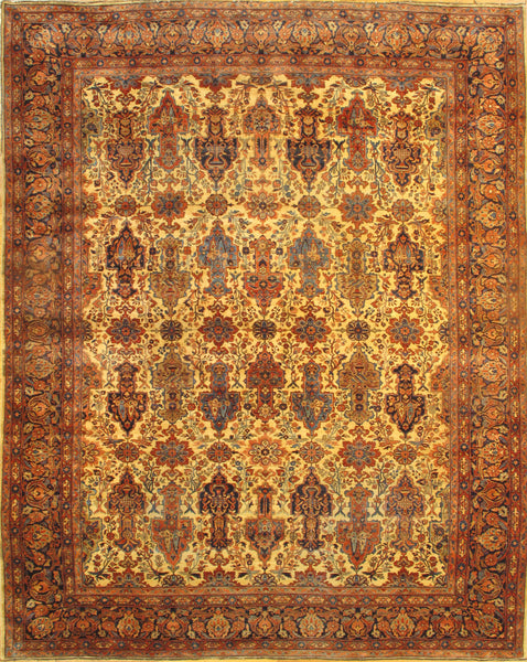 Hand-Knotted Antique Persian Ferahan Gold Rug