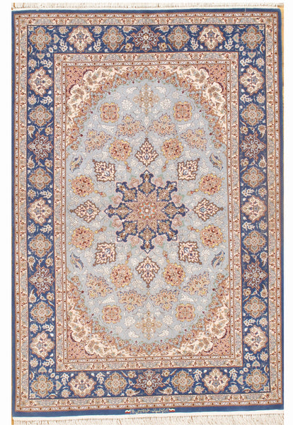 Hand-Knotted Isfahan Design Silk & Wool Rug