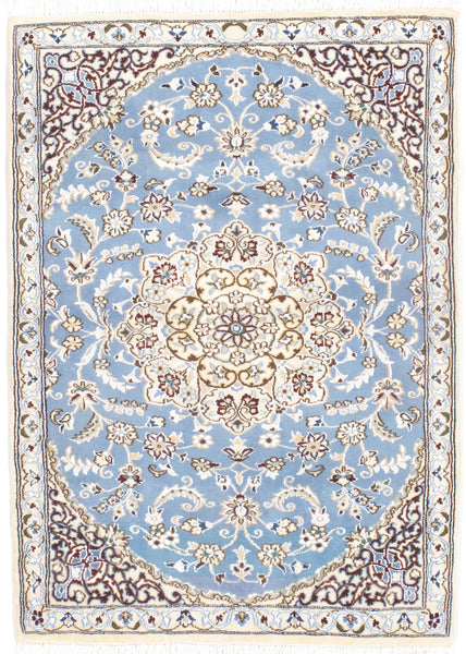 Hand-Knotted Nain Silk & Wool Area Rug