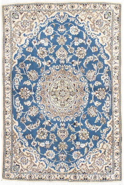 Hand-Knotted Silk Nain Area Rug