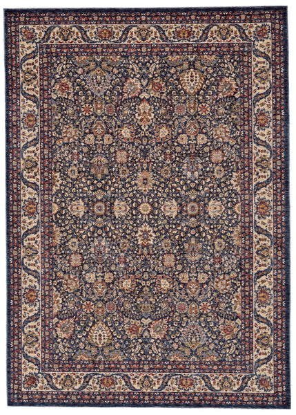 Moberly Blue/Ivory Machine Made Area Rug