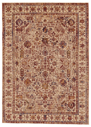 Moberly Cream/Rust Machine Made Area Rug