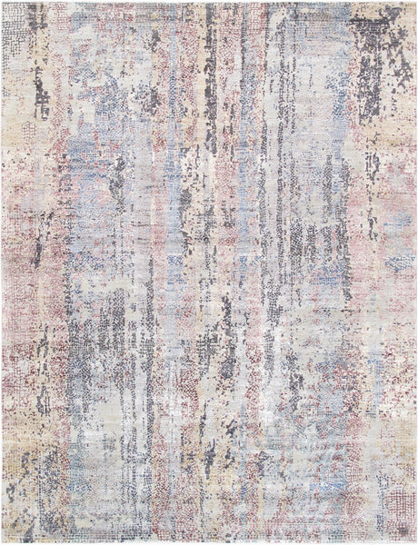 Ivory Gemstone Design Hand-Knotted Area Rug