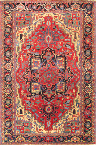 Heriz Collection Hand-Knotted Lamb's Wool Area Rug