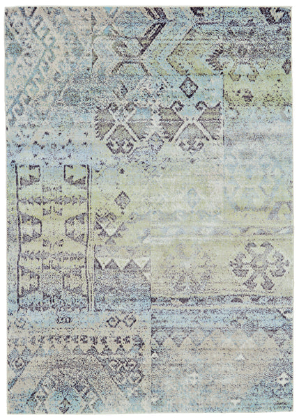 Alessandria Mint/Taupe Machine Made Area Rug