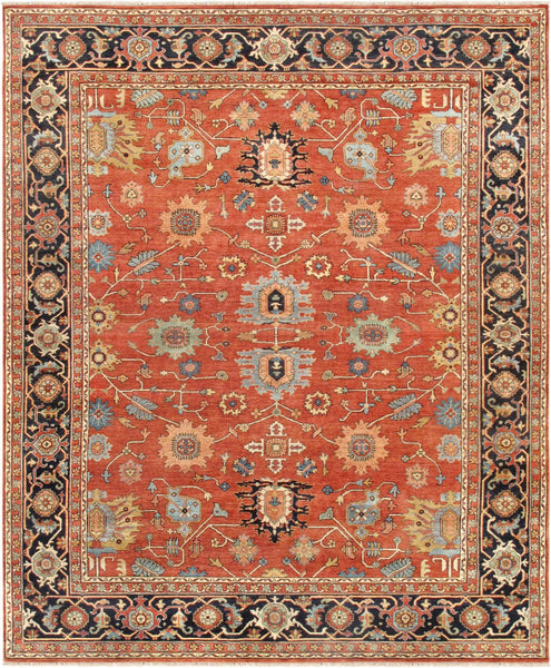 Rust Serapi Design Hand-Knotted Area Rug