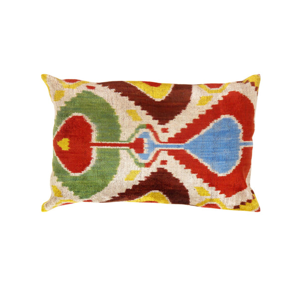 Hand-Knotted Silk Velvet Ikat Collection Pillow