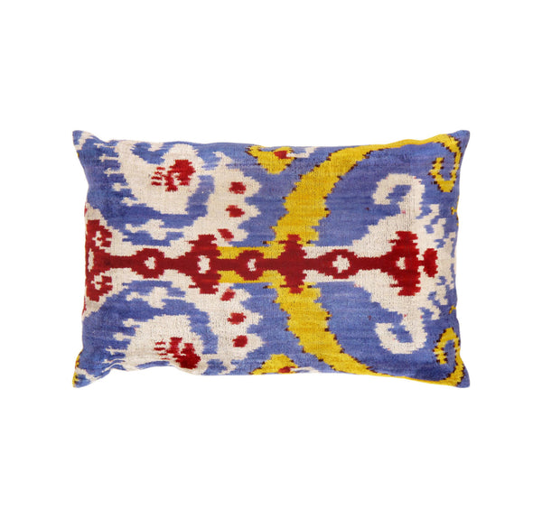 Hand-Knotted Ikat Design Silk Purple/Red Pillow