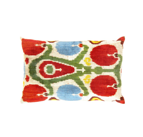 Hand-Knotted Silk Velvet Red Ikat Pillow