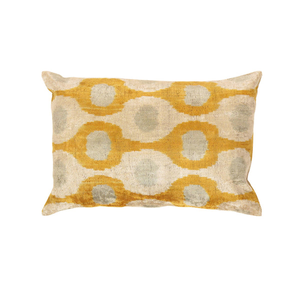 Hand-Knotted Silk Velvet Gold/Beige Ikat Pillow