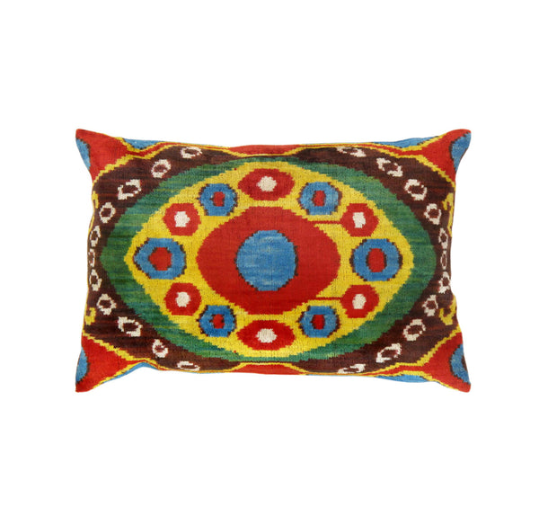 Hand-Knotted Silk Velvet Multi Color Ikat Pillow