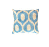 Hand-Knotted Velvet Light Blue Ikat Pillow