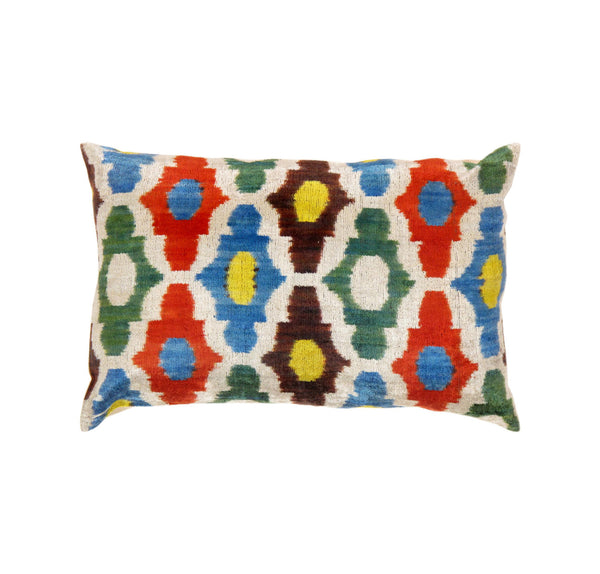 Hand-Knotted Silk Multi Color Ikat Design Pillow