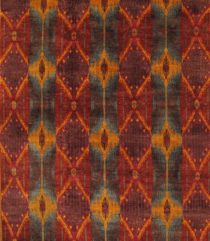 Hand-Knotted Ikat Rust Lamb's Wool Area Rug