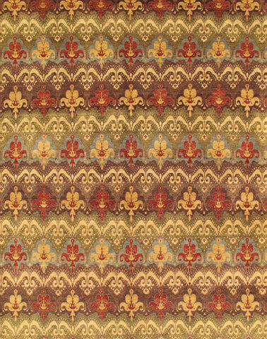 Hand-Knotted Ikat  Brown Area Rug