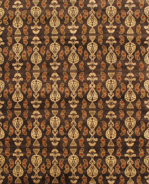 Hand-Knotted Ikat Brown Lamb's Wool Area Rug