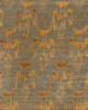 Hand-Knotted Ikat Grey/Gold Lamb's Wool Rug