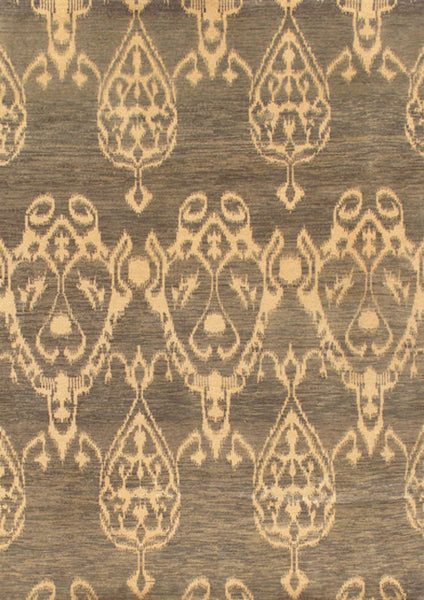 Hand-Knotted Ikat Lamb's Wool Grey Area Rug
