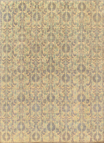 Hand-Knotted Ikat  Wool Area Rug