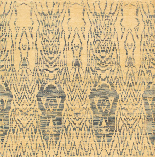 Ikat  Hand-Knotted Beige Area Rug