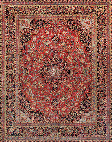 Hand-Knotted Kashan Lamb's Wool Area Rug