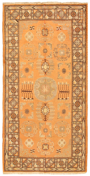 Hand-Knotted Antique Khotan Lamb's Wool Area Rug