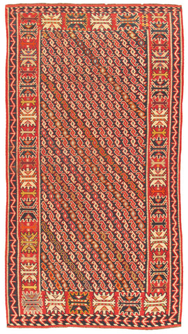 Hand-Knotted Flat Weave Antique Kilim Rug