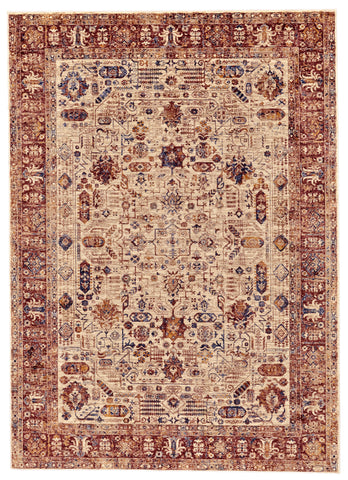 Moberly Cream/Brown Machine Made Area Rug