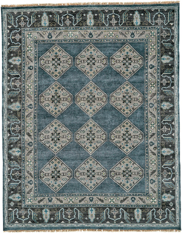 Alden Dark Blue/Gray Hand Knotted Area Rug