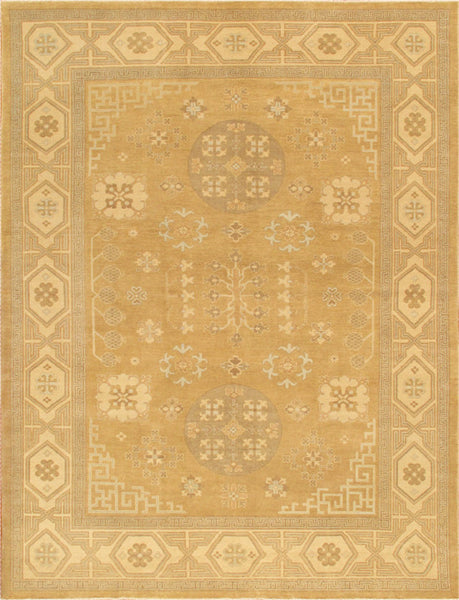 Hand-Knotted Khotan Lamb's Wool Gold Rug