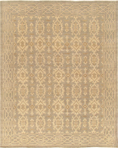Hand-Knotted Khotan Light Blue Wool Area Rug