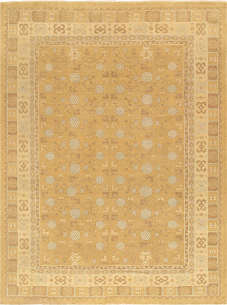 Hand-Knotted Khotan Wool Gold/Beige Rug